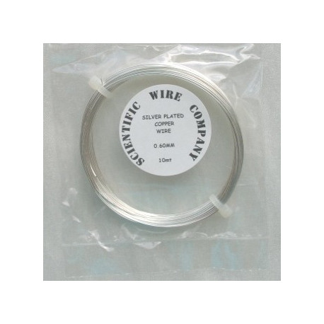 TH5006 - Silver plated copper wire, 0.6mm diameter.  10m length