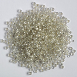 Size 6, silver lined seed beads.