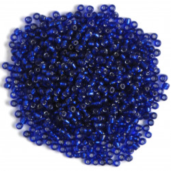 Size 6, silver lined, seed beads, blue.