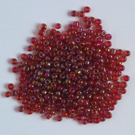 Size 8, red AB glass seed beads.