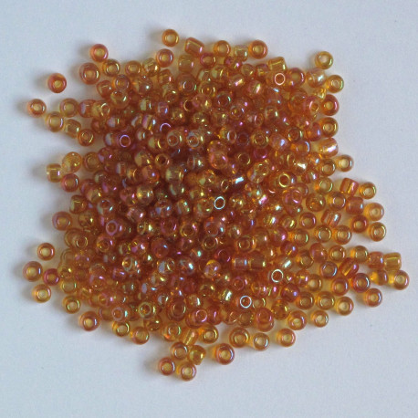 Size 8, amber AB glass seed beads.