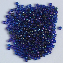 Size 8, cobalt blue AB glass seed beads.