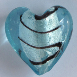 Big blue silver lined heart. Murano style.