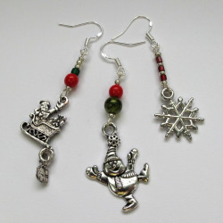 Pack of 3 pairs of Christmas earrings
