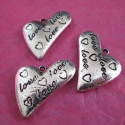 Large heart charm. Pack of 5