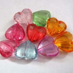 Mixed acrylic heart beads. Pack of 15