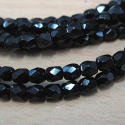 3mm jet black fire polished beads, pack of 100