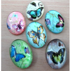 CAB181301 - Butterfly glass cabochons. 18x13mm Pk of 10