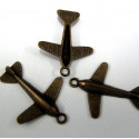 Aeroplane charms, antique brass colour. Pack of 10