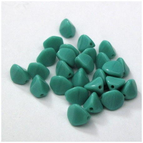 CZ2954 - Turquoise glass 3 sided beads. Pack of 30