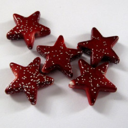 Red glitter Christmas star beads, pack of 20