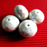 Big white AB acrylic beads. Pack of 5