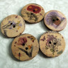 Wooden floral buttons. Pack of 10