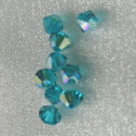 Swarovski 5301 4mm bi-cone crystal, blue zircon AB.