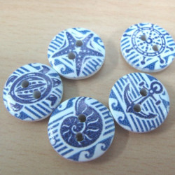 Blue and white nautical buttons. Pack of 15