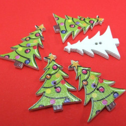 Christmas tree buttons. Pack of 10