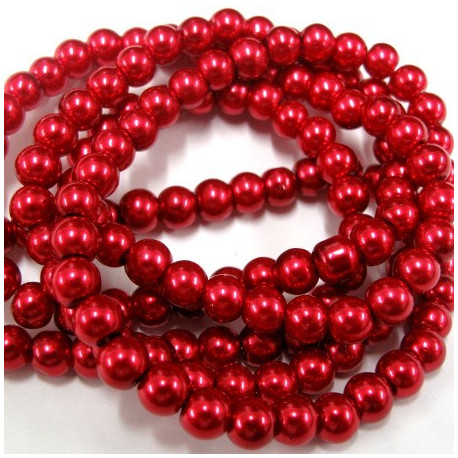 PL0652 - 6mm red glass pearls. Long string of approx 145