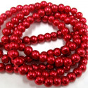 6mm red glass pearls. Long string of approx 145