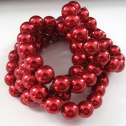 10mm red glass pearls. Long strand