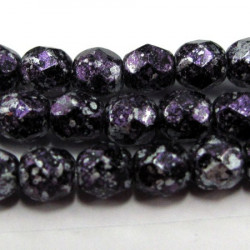 4mm fire polished beads in tweedy purple