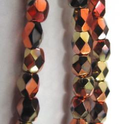4mm fire polished glass beads, jet cali gold rush