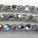 4mm fire polished crystal silver rainbow, strand of 40 beads