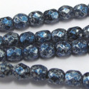 4mm fire polished beads in blue tweedy finish, strand of 40