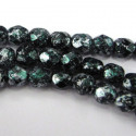 4mm fire polished beads in green tweedy finish, strand of 40