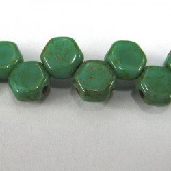 Honeycomb beads in green turquoise