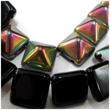 12mm pyramid beads, black with AB top. Strand of 12