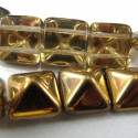 12mm Pyramid beads in a gold topped glass finish, strand of 12