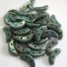 CzechMates crescent beads , dark turquoise. 5g
