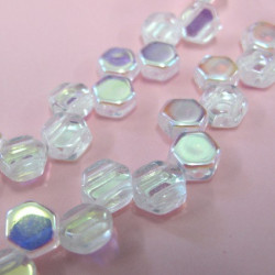 Honeycomb bead in clear AB, per strand of 30 beads