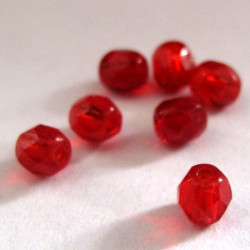 50g pack of red 4mm Czech fire polished beads