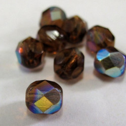 50g bargain bag of brown ab finish fire polished beads