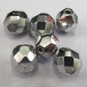 50g pack of 8mm silver colour fire polished glass beads