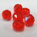 50g pack of 8mm bright orangey red AB Czech fire polished beads