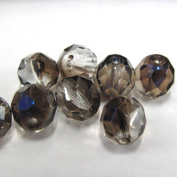 50g bag of 8mm grey, blue, crystal fire polished beads
