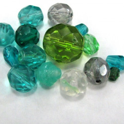 50g pack of mixed green fire polished beads