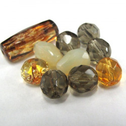 50g pack of mixed brown fire polished beads