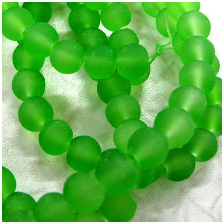 Long strand of 8mm frosted green glass beads