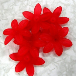 Large red flower beads with6 petals