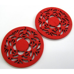 Red disc wooden pendants