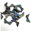 Pack of 100 dark AB angel wing beads