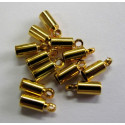 Cord end gold colour, small. Pack of 100