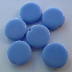 Czech glass, blue coin shape. Approx 11mm. Pack of 10.