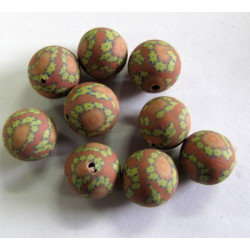 Polymer clay brown patterned beads. Pack of 10