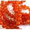 Red/orange crackle beads, long strand