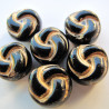 CZ2120 - Czech glass, Black with gold colour decoration.  Approx 10mm. Pack of 10