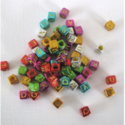 Alphabet cube beads, metallic bright.  500 pack